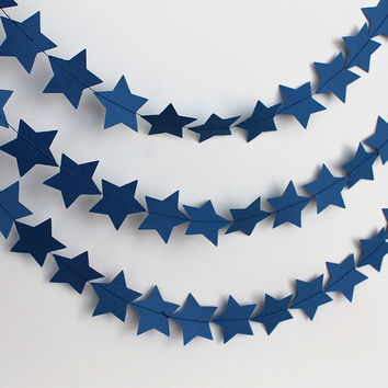 Blue Star Garland, Wedding Decor, 10 Ft
