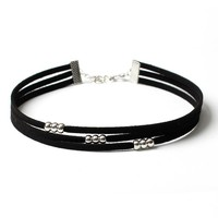 Casual Faux Leather Three Layers Choker Necklace