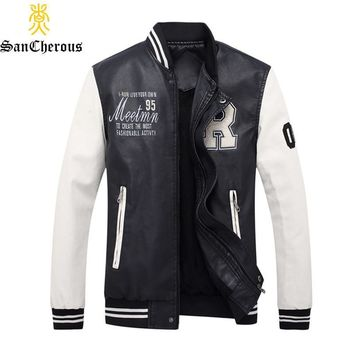 Trendy 2018 High Quality Embroidery Baseball Stand Jackets Pu Leather Male Men Coat Size M-4XL casaco masculino AT_94_13