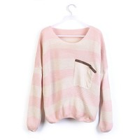 Striped Bat Long Sleeve Loose Sweater Pink