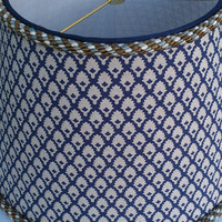 Empire Shape Lamp Shade Navy Blue and Kakhi Cotton Fabric,  Navy Grosgrain Ribbon and Blue and Brown Cord Trim
