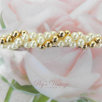 Vintage White Pearl And Gold Bead Barrette - Clip, Fashion Hair Accessory