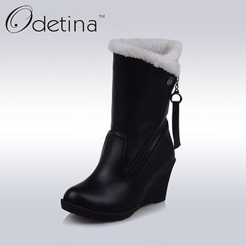 Odetina Brand Mid Calf High Heel Wedges Boots Black Warm Plush Pu Leather Ladies Boots Large Size Fashion Women Winter Boots Zip