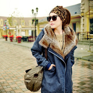 Autumn Women's Fashion Thicken Denim Cotton Coat Jacket [9344408452]