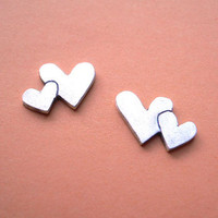 Double Heart Stud Earring Fine Silver Jewelry by StudioRhino
