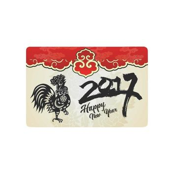 Autumn Fall welcome door mat doormat Traditional Chinese Paper Cut Rooster Anti-slip  Home Decor, Happy New Year Indoor Outdoor Entrance  Rubber AT_76_7