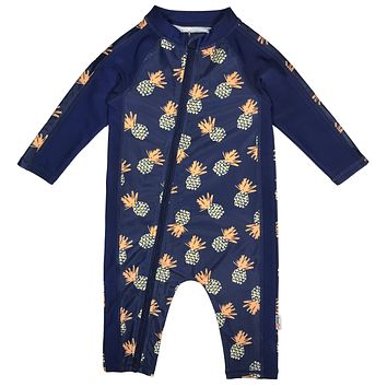 "Sunsuit - Boy Long Sleeve Romper with UPF 50+ UV Sun Protection | ""Pineapple Dreams"""