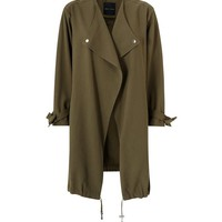Khaki Waterfall Duster Jacket | New Look