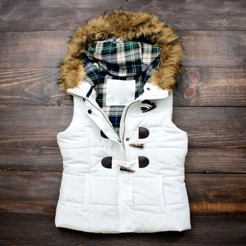 mountain slopes fur hooded white puffer vest
