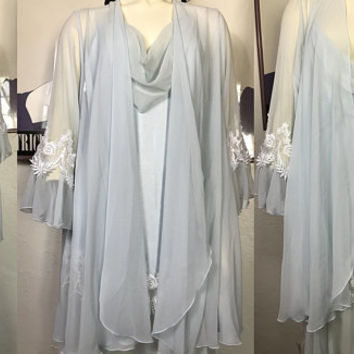 Rare Blanche by RALPH MONTENERO Peignoir Set / Light Blue Chiffon Lace Vintage Dressing Gown & Negligee / 1960s ILGWU Glam Bridal Lingerie