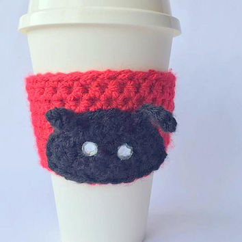 Ladybug Coffee Cozy // Coffee Cozy // Crochet Coffee Cozy // Crochet ladybug Coffee Cozy // Coffee Cozies // Valentine Coffee Cozy // Red