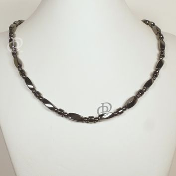 Magnetic Necklace 3X Power Black Twist and Barrel Beads 5000 Gauss Black Clasp