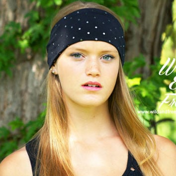 Wide Boho Headband, Yoga Headband, Ladies Fashion headband, Workout headband, Limited Edition Vintage Headwrap,Womens black fabric headband