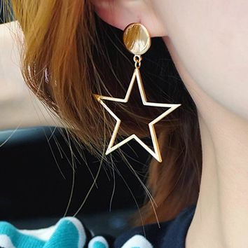 Big Star Earrings For Women Vintage Statement Punk Style Silver and Gold-Color Long Stud Earrings Girls Korean Fashion Jewelry