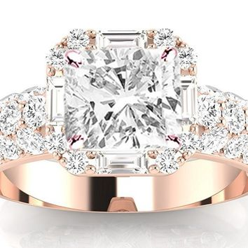 1 Carat GIA Certified Cushion Cut Halo Style Baguette And Pave Set Round Diamond Engagement Ring