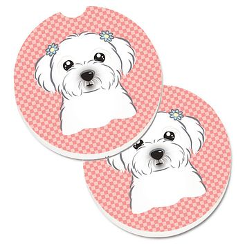 Checkerboard Pink Maltese Set of 2 Cup Holder Car Coasters BB1208CARC