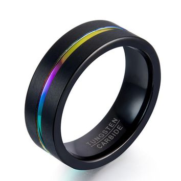 Fashion Tungsten Ring Black And Rose Gold Colors Wedding Sport Finger Band Gifts