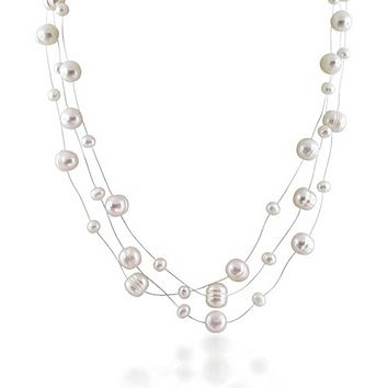 Freshwater Cultured Pearl Illusion Multi Strand Necklace Silver Plated