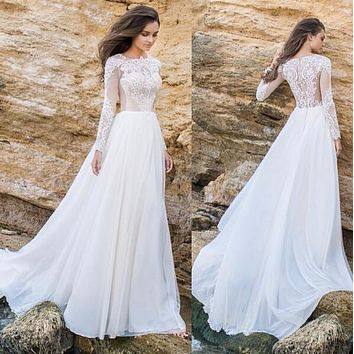2016 New Vestido De Noiva  Elegant Lace Applique Tulle Chiffon A Line Simple Long Sleeves Formal Beach Wedding Dresses Plus Size