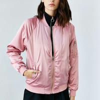 UNIF X UO Satin Bomber Jacket - Urban Outfitters