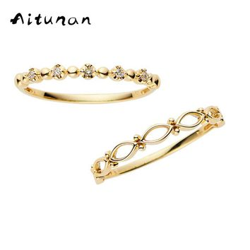 Aitunan 925 Sterling Silver Crystal Rings Minimalist Stackable Ring Set ,Zircon Thin Gold Color Stacking Ring For Banquet Gift