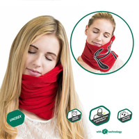 Travel household ultra-soft neck support pillow napping pillow -RED