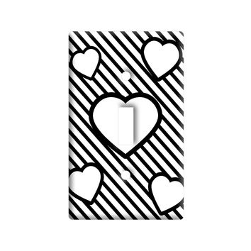 Love Cute Hearts White Black Stripes Light Switch Plate Cover