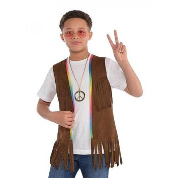 Hippie Costume Fringe Vest Kids 60s 70s Halloween Fancy Dress