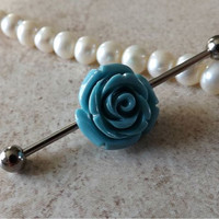 Industrial Barbell With Turquiose Roe Body Jewelry Ear Jewelry Double Piercing
