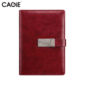 CAGIE Vintage Leather Journals and Notebooks Office&School Planner Agenda Lock Diary 280 Pages Men Business Gifts Personal Diary