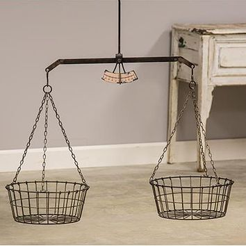 Retro Style Hanging Scale with Two Wire Baskets