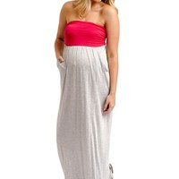 Fuchsia Grey Colorblock Strapless Maternity Maxi Dress