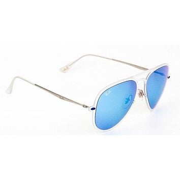 New Ray Ban Aviator Clear Silver Blue Mirror Sunglasses RB4211 646/55 56mm