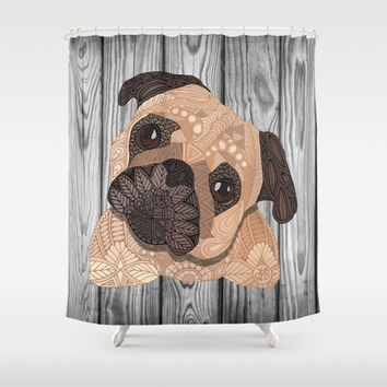 Pug Hug Shower Curtain by ArtLovePassion