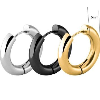 2 pieces Gold Silver Black 316L Stainless Steel Round 5mm Thickness Hoop Earrings  Korean Cute Small Circle Ear Punk Jewelry