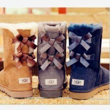 PEAP UGG bow leather boots boots in tube boots