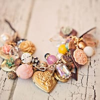 Whisper confessions of love... a charm salvaged necklace. OOAK.