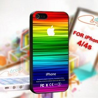 STRIPE COLORFUL Apple Logo - Photo On Hard Cover For iPhone 4/4S