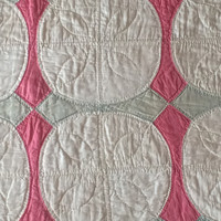 Vintage Hand Quilted Quilt Hand Crafted Pink And Green Star Pattern Bedspread Bedcover