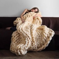 Spring Bedding Sofa Wool Knitting Blanket Gift