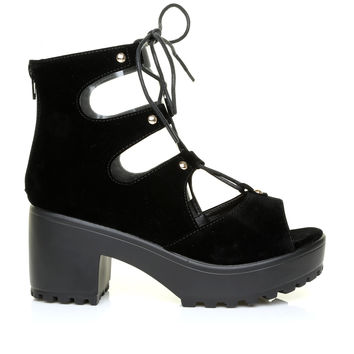NANCY Black Suede Lace Up Peep Toe Chunky Sole Gladiator Sandals