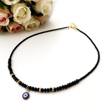 Evil Eye Necklace - miyuki evil eye jewelry - black evil eye necklace