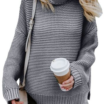 Women Gray Cozy Long Sleeves Turtleneck Sweater