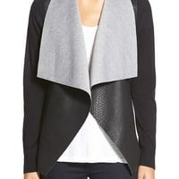 MICHAEL Michael Kors Embossed Faux Leather Drape Front Sweater (Regular & Petite) | Nordstrom