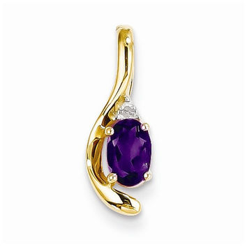 14k Gold Diamond & Amethyst pendant