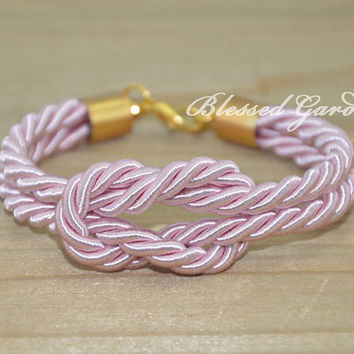bracelet,sailor knot bracelet, navy bracelet,pink bracelet,nautical bracelet, god's gift,bridesmaid bracelet,blessed garden