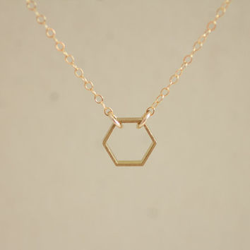 Small open brass hexagon charm gold filled chain necklace - minimal geometric jewelry by AmiesAmies