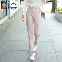 Dia OL Women Long Pants Autumn Casual Style Slim Mid Waist Pure Color Double Pocket  Trousers Straight Jeans Pants
