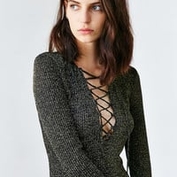 Bardot Romeo Shimmer Lace-Up Dress - Urban Outfitters