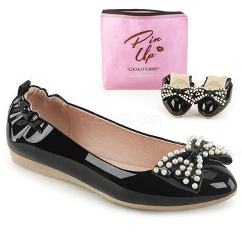 Pin Up Couture Ivy Black Patent Ballet Pearl Flats